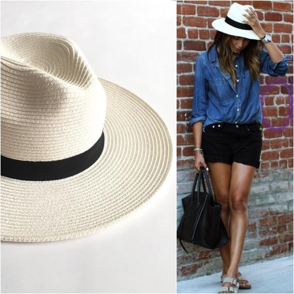 White Panama Hat with Black Ribbon Trim NWT 53fb802304b